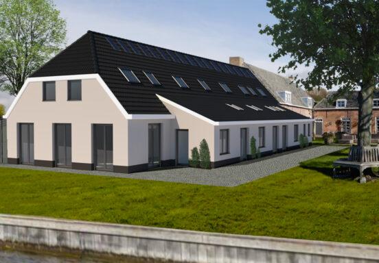 Impressie van het voorlopig ontwerp van de achtergevel herbestemming Engelbertha Hoeve door Architect Marcel van Dijk Architektenburo